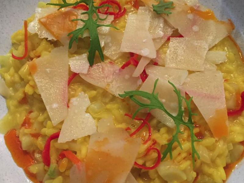 ''Carnaroli risotto of leek, fennel, saffron, Chilli, shaved reggiano, fennel fronds' (GF)